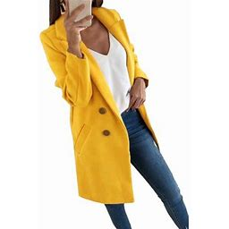 Himone Women Trench Coat Casual Blazers Open Front Long Sleeve Work Office Jackets Blazer Long Pea Coat Cardigan Outwear, Women's, Size: 2XL, Pink