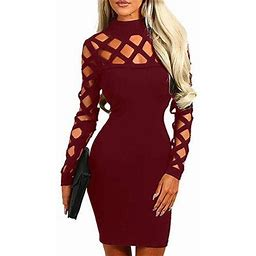 Vista Women's Hollow Out Dress Bandage Clubwear Long Sleeve Bodycon Dresses, Size: Large, Red