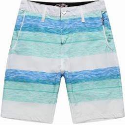 Hawaii Hangover Men's Beach Wear Board Shorts With Pocket In White Blue Wave Stripes, Size: 28