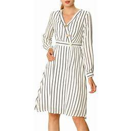 Allegra K Women's Office Long Sleeve Button V Neck Oblique Placket Striped Midi Dress, Size: XS, White