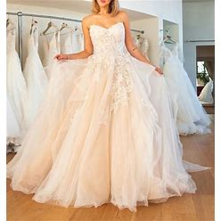 Ball Gown Wedding Dresses Strapless Sweep / Brush Train Lace Tulle Sleeveless Formal Plus Size With Embroidery Cascading Ruffles 2021 White US 6 / UK