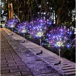 120 LED Solar Light Outdoor Grass Globe Dandelion Lamp Garden Lawn Landscape Lamp Flash String Firework Light Holiday, Size: 2PCS