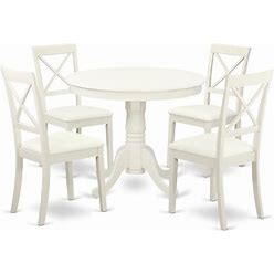 East West Furniture Antique 5-Piece Dining Set With Leather Seat In Linen White - ANBO5-LWH-LC