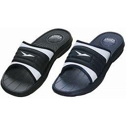Shoe Shack Men's Rubber Slide Sandal Slipper Comfortable Shower Beach Shoe Slip On, Size: One Size, Black