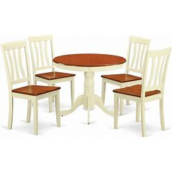 East West Furniture Antique 5-Piece Wood Kitchen Table And Chairs In Cherry - ANTI5-WHI-W