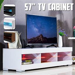 57' TV Stand Cabinet W/LED Lights For Flat TV Screens 40-55 Inch In Home Dormitory DIY Furniture High Gloss, Size: 1XL, White