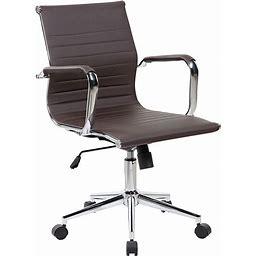 Techni Mobili Modern Faux-Leather Executive Desk Chair, Brown