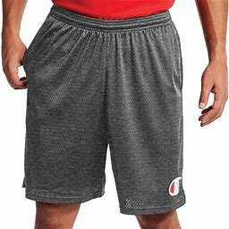Champion Mens Long Mesh Shorts With Pockets, S, Granite Heather, Men's, Size: Small, Gray