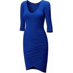 Made By Johnny Mbj Wdr940 Womens Deep V Neck 3/4 Sleeve Tulip Bodycon Dress Xxxl Royal_brite, Women's, Size: 3XL, Blue
