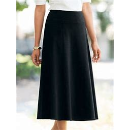 Women's Petite Everyday Knit Long Skirt, Black P-L, Appleseed's