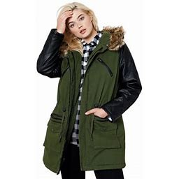 Ellos Women's Plus Size Quilted Faux Leather Sleeve Parka Jacket, Size: Large (18-20), Green