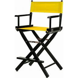 """Casual Home 24"""" Black Finish Director's Chair, Yellow"""
