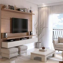 Manhattan Comfort City 1.8 Floating Wall Theater Entertainment Center In Maple Cream And Off White, Brown Ivory And Off White
