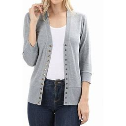 TheLovely Women Classic Thin Snap Button Front V-Neck Button Down 3/4 Sleeve Ribbed Knit Cardigan, Women's, Size: 2XL, Gray
