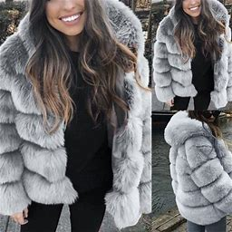 Kimloog Women Faux Mink Winter Hooded New Faux Fur Jacket Warm Thick Outerwear Jacket, Adult Unisex, Size: Medium, Gray
