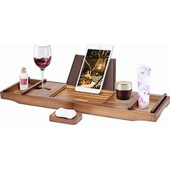 Expendable Bamboo Bathtub Caddy Tray Bath Accessories With Cellphone Tablet And Wine Book Holder Brown