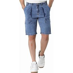 Lars Amadeus Men's Short Jeans Straight Fit Pockets Casual Denim Shorts, Size: 34, Blue
