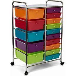 Seville Classics 15-Drawer Multipurpose Mobile Rolling Utility Storage Organizer Cart, Multi-Color