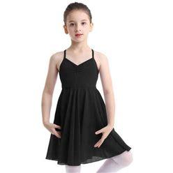 Iefiel Girls Empire Waist Ballet Dance Dress Modern Lyrical Dance Costumes Dress, Girl's, Size: 7-8, Black