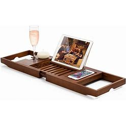 Bambusi Bathtub Caddy Tray With Extending Sides, Reading Stand, Wine Holder And Cellphone Tray - Brown