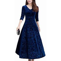 Sexy Dance Velvet Formal Dress For Women Evening Party Ball Gown Maxi Dress Wedding Floral Graphic Pleated Swing Dress Ladies Bridesmaid 3/4 Sleeve