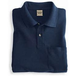 Scandia Woods Men's John Blair Banded-Bottom Piqué Knit Polo, Navy Blue 4XL Tall