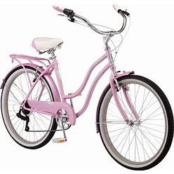 Schwinn Perla Women's Cruiser Bicycle, Featuring 18-Inch Step-Through Steel Frame And 7-Speed Drivetrain With Front And Rear Fenders, Rear Rack, And