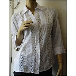 Christopher & Banks Tops | Christipher & Banks White Cut Out Blouse Size S | Color: White | Size: S