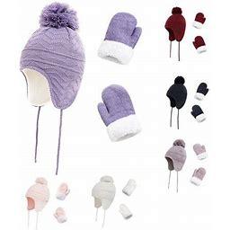 Spring Park 3Pcs/Set Kids Unisex Winter Ear Muff Beanie Pompom Boys Girls Knitted Hat Thick Glove Mitten Warmer Set, Size: One Size, Red