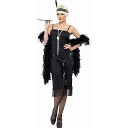 Womens 1920S Flirty Flapper Girl Black Dress With Sash And Headpiece Costume, Women's, Size: Women'small Medium 10-12, Approx 29-30.5 Waist, 39.5-41