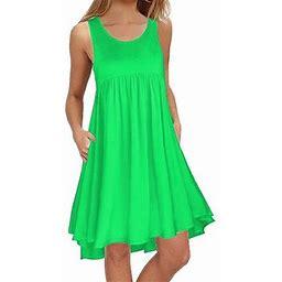 Just For Kix Women Round Neck Sleeveless Tank Dress Casual Pleated Pockets Beach Dress Loose Swing T Shirt Mini Dress, Women's, Size: 2XL, Green