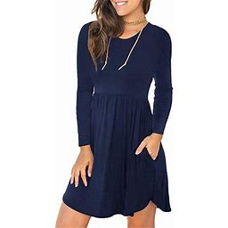 Isaac Liev Women's Long Sleeve Loose Plain Dresses Casual Short Dress With Pockets, Size: 2XL, Blue
