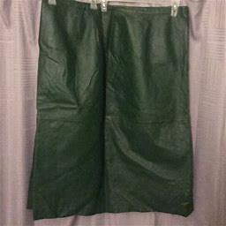 Jessica London Skirts | Plus Size Forest Green Leather Skirt | Color: Green | Size: 26W