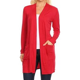 Moa Collection Women's Long Sleeves Loose Fit Open Front Side Pockets Solid Cardigan Made In USA, Size: 3XL, Red