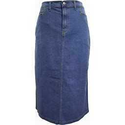 Ice Cool Ladies Light Blue Stonewash Stretch Denim Maxi Skirt Sizes 4 To 26, Length 35""