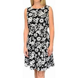 Peach Couture Classic Floral Printed A-Line Dress (Black & White, X-Large), Adult Unisex, Size: XL, Red