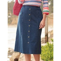 Women's Knit Denim Button Front Skirt, Denim M Misses, Appleseed's