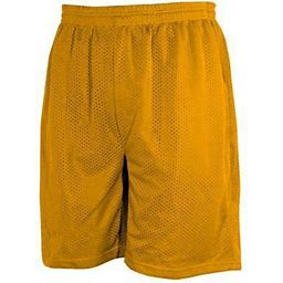 Branded Men's Casual Plain Mesh Shorts 2 Pockets Gym Workout Fitness Basketball Hip-Hop Breathable Shorts For Men S Size Gold, Size: Small