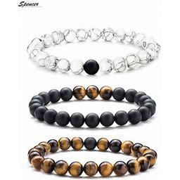 Spencer Tiger Eye Natural Stone Mala Beads Bracelet For Men Women Elastic Matte Agate Yoga Bracelet Bangle 8mm Gift For Mother's Day Valentine's Day