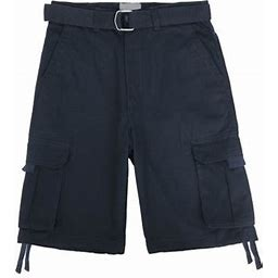Hat And Beyond Men's Comfort Utility Multi Pockets Twill Cargo Shorts With Belt, Size: 46, Blue