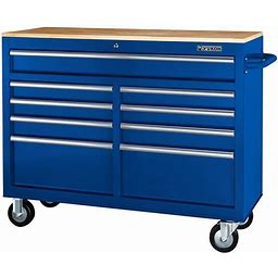 Yukon 46 In. 9-Drawer Mobile Storage Cabinet With Solid Wood Top, Blue