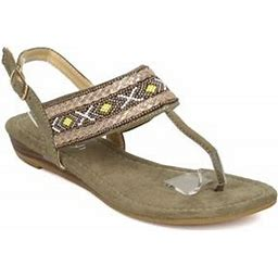 Alrisco New Women Refresh Easy-01 Mixed Media Beaded Tribal T-Strap Micro Wedge Sandal, Women's, Size: 7, Beige