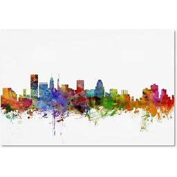 Baltimore Maryland Skyline By Michael Tompsett, 12X19-Inch Canvas Wall Art
