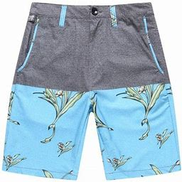 Hawaii Hangover Men's Beach Wear Board Shorts With Pocket In Solid Grey With Blue Bird Of Paradise 28, Gray