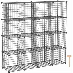 Wire Cube Storage, 16-Cube Storage Organizer, Metal Stackable Storage Bins, Modular Bookshelf, DIY Closet Cabinet Ideal For Living Room, Bedroom,