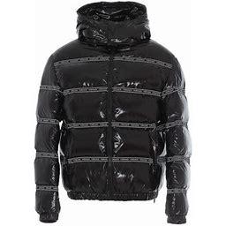 Versace Logo Detail Puffer Jacket, Men's, Size: 48, Black