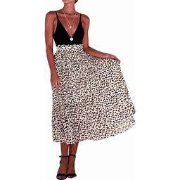 One Opening Women Chiffon Leopard High Waist Elastic Bodycon Bandage Long Pencil Skirt, Women's, Size: Medium