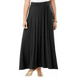 Plus Size Women's Everyday Knit Maxi Skirt By Jessica London In Black (14/16)