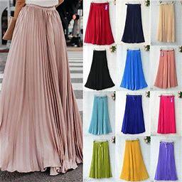 Xiaodriceee Womens Chiffon Pleated Retro Long Maxi Full Skirt Elastic WaistBand Skirt, Women's, Size: One Size