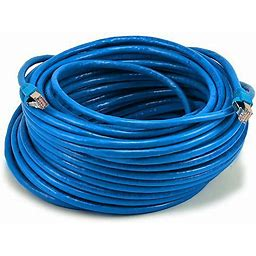 Monoprice Cat6A Ethernet Patch Cable - Snagless RJ45, Stranded, 550Mhz, STP, Pure Bare Copper Wire, 10G, 26AWG, 100ft, Blue